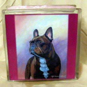 French Bulldog 8x8 Glass Block Light F4005