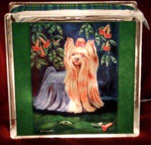 Yorkshire Terrier 8x8 Glass Block