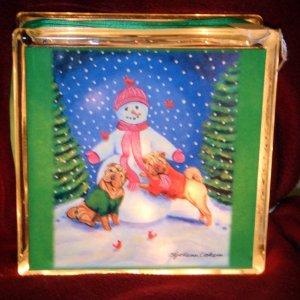 Chinese Shar Pei Christmas 8x8 Glass Block Lamp