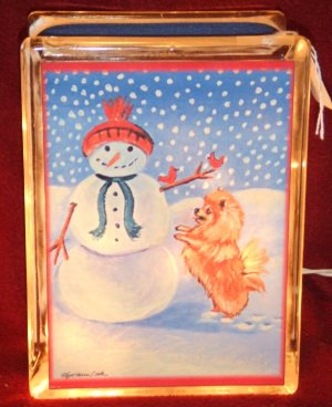 "Pomeranian Christmas 6""x8"" Glass Block Lamp"