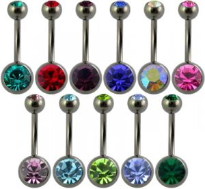 Double Stone Surgical Steel Navel Curved Barbell ( Clear - Long ) ~igemini.net~