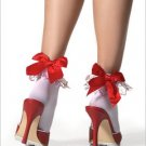 Stockings Embroidered Heart Ruffled Anklet ( OS ) ~igemini.net~