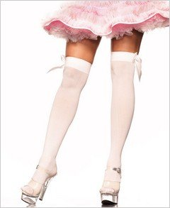 Stockings Opaque White with Bows Thigh High ( OS ) ~igemini.net~