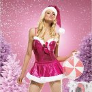 Pink Santa 3-piece Skirt, Bustier & Hat Costume ( Large ) ~igemini.net~