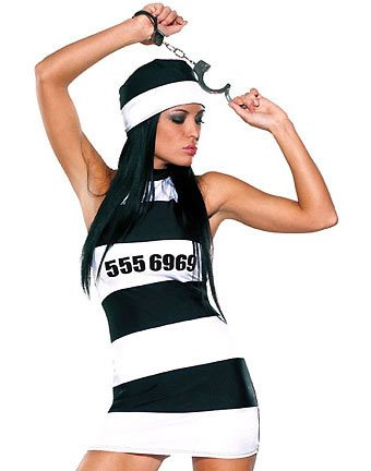 Prison 3-piece Dress, Hat & Cuffs Costume ( OS ) ~igemini.net~