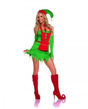 Jingle Elf 4-piece Dress Costume ( M ) ~igemini.net~