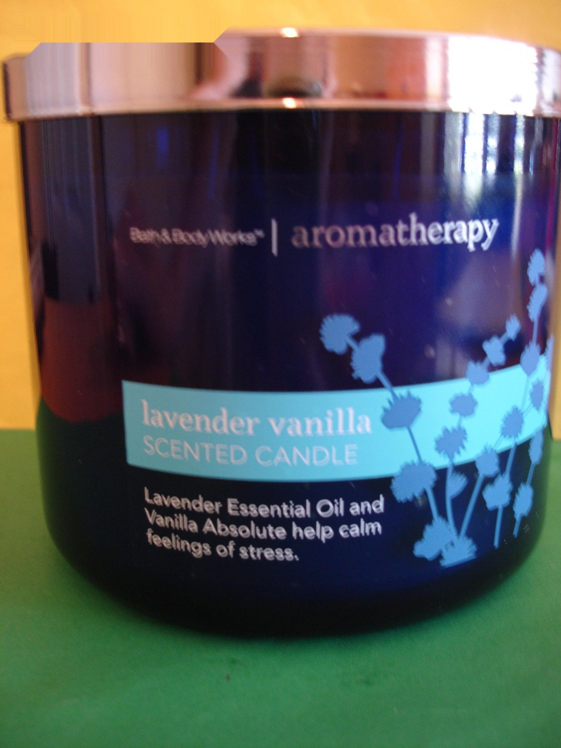 Bath Amp Body Works Aromatherapy Lavender Vanilla Candle 3 Wick