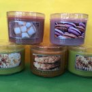 Bath & Body Works Slatkin 5 Lavender Macaroon, Apple, Hot Chocolate, Oatmeal Raisin 1.6 oz Candle