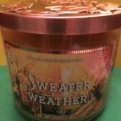 Bath and Body Works Fall Sweater Weather Leaf Lid Candle Large 3 Wick