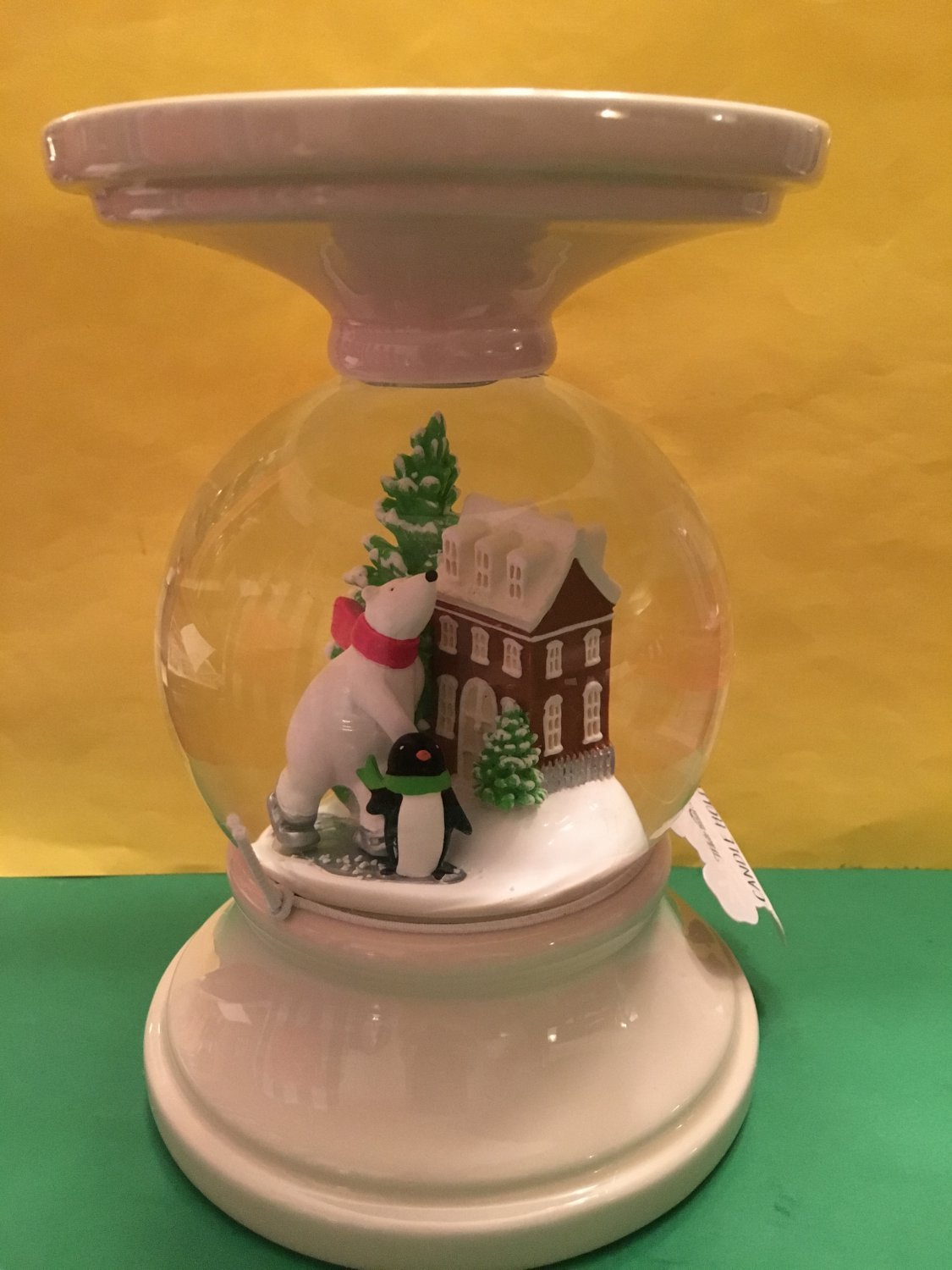 Bath And Body Works Snowglobe Pedestal Candle Holder
