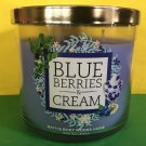 Bath & Body Works Blue Berries and Cream 3 Wick Candle Large