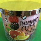 Bath and Body Works Raspberry Citrus Swirl Triple Layer 3 Wick Candle Large