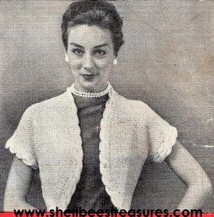 Bolero-Shrug Cover-Up Pattern Knitted Vintage 726019