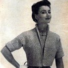 Knit Jacket - Shrug - Sweater Pattern Vintage 726034