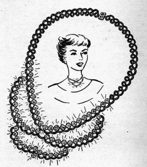 Tatted Necklace with Rhinestones Pattern Vintage 729010