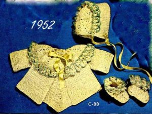 Sacque, Cap and Bootees Crochet Pattern 723063