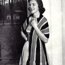 Long Stripped Stole Knitted Pattern Vintage 726045