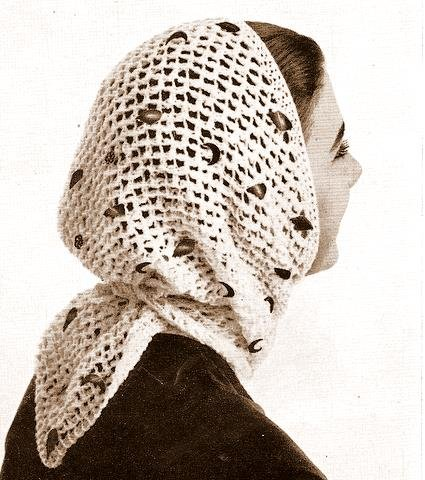 Besequinned Triangle Scarf Mantilla Knitted Pattern 726047