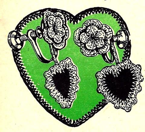 Heart Earrings Crochet Pattern Vintage 723082