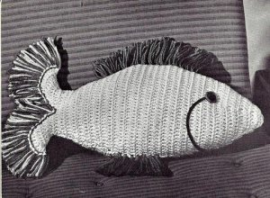 Fish Pillow Crocheted Pattern Vintage 723084