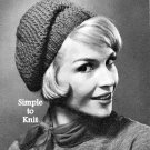 Simple to Knit Beret Pattern Vintage 726073