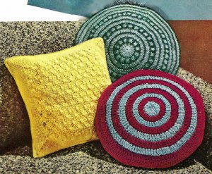 Three Crocheted Pillows Pattern Vintage 723080