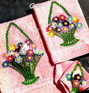Flower Basket Crochet Pattern for Towels or Pillow Cases 723103