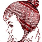 Girl or Boy Stripped Cap Knitted Pattern Vintage 726036
