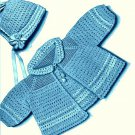Baby Jacket-Sweater and Cap Crochet Pattern Vintage 723032