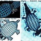 Alligator/Fish/Turtle Soap Holders Washcloths 3 Vintage Patterns 723026
