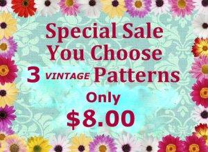 Choose 3 PDF Patterns ONLY $8.00