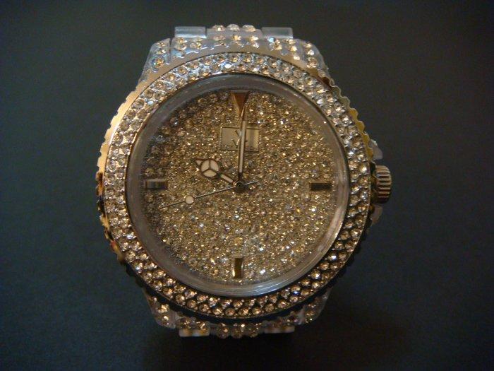 Fashion Plastic Stylish Watch with Rhinestone