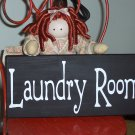 Laundry Room Family Home Decor Wood Vinyl Sign - French County Black and White
