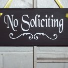 No Soliciting With Flourish - Wood Vinyl Lettering Sign
