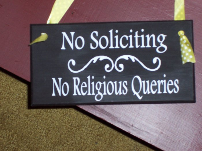 No Soliciting No Religious Querries Wood Vinyl Sign - Home Decor