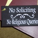 No Soliciting No Religious Querries Wood Vinyl Sign - Home Decor