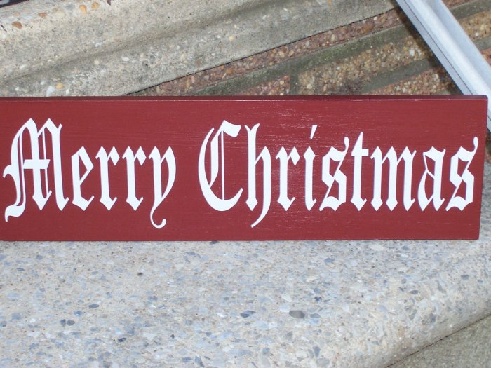 Merry Christmas Wood Vinyl Lettering Sign Holiday Home Decor
