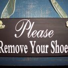 French Country Shabby Chippy Wood Vinyl Sign - Please Remove Your Shoes