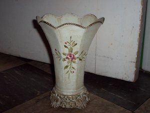Victorian Chic Metal Flower Vase Whimsical Centerpiece Home Accent Decor - Floral Craft Supplies