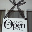 Whimsical Retail Open Closed Wood Sign with Ribbon - Commercial Signage