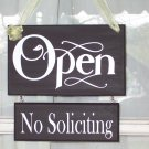 Whimsical Shabby Retail Shop Store Wood Sign Vinyl Open Closed No Soliciting
