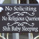 No Soliciting No Religious Queries Shhh Baby Sleeping Wood Vinyl Sign