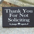 Thank You For Not Soliciting Wood Vinyl Sign - Home Shop Wreath Door Decor
