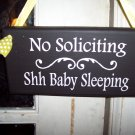 No Soliciting Baby Sleeping Wood Vinyl Sign - Shabby Cottage Baby Shower Gift