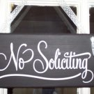 No Soliciting Retro Black and White Wood Vinyl Sign