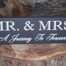 Mr. and Mrs. A Journey to Forever Wood Vinyl Sign - Whimsical Wedding Anniversary Gift