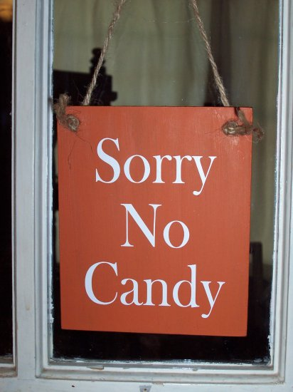 Halloween Sorry No Candy Wood Vinyl Sign Home Decor