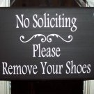 Whimsical Door Wreath Sign - No Soliciting Please Remove Your Shoes Wood Vinyl Sign