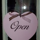 Whimsy Shabby Cottage Chic Open Closed Retail Shop Heart Wood Vinyl Sign