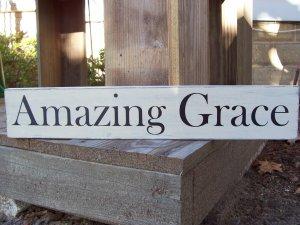 Shabby Primitive Country Amazing Grace Wood Vinyl Sign Plaque